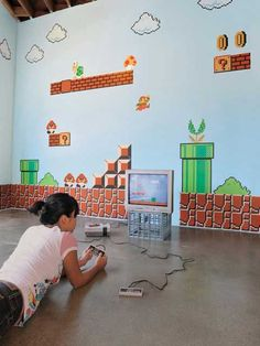 video game room ideas for kids   cool mario themed room design for kids images kids games room super ...