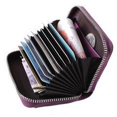ce29b64fcfd Sale 20% (11.99 ) - Women Men Genuine Leather 9 Zipper Card Holder Business  ID Card Case Short Wallet