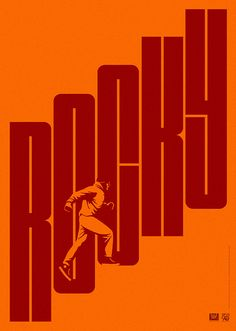 "Minimalist movie poster for ""Rocky"", great use of typography to create the stairs from the iconic training montage in the film."