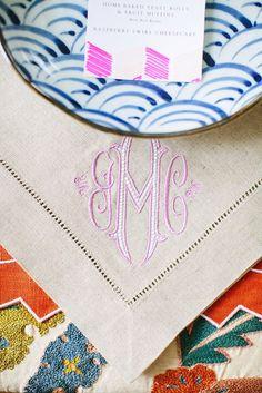 Monogrammed napkin