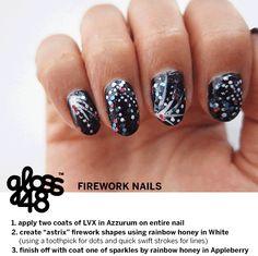 4th of July Nail Art Firework Nails