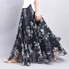 Chiffon Floral Printed Long Flowy Maxi Skirts in Pencil High Skirt Outfits Chiffon Floral, Chiffon Rock, Long Chiffon Skirt, Print Chiffon, Floral Maxi, Floral Dresses, Maxi Skirts For Women, Long Maxi Skirts, Pleated Skirts