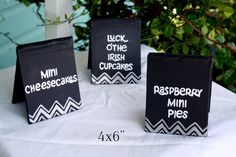 Tented Chalkboard Table Signs for Wedding / Banquet by LBFStudio, $15.00