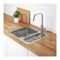 NORRSJÖN Inset sink, 1 bowl, stainless steel - Shop online or in-store - IKEA Kitchen Mixer Taps, New Kitchen, Kitchen Sinks, Kitchen Layout, Room Kitchen, Dining Room, Dish Washing Brush, Washing Dishes, Fitted Cabinets