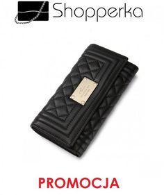 e1282466def29 Elegancki pikowany portfel długi Czarny Nucelle - 4866469398 - oficjalne  archiwum allegro
