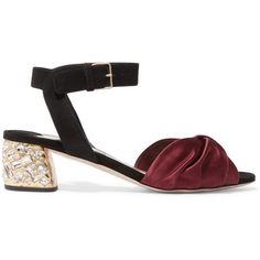 Miu Miu Crystal-embellished knotted satin and suede sandals ($885) ❤ liked on Polyvore featuring shoes, sandals, burgundy, ankle strap shoes, buckle sandals, ankle wrap sandals, suede shoes and mid heel sandals