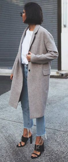 how to style a cashmere coat : white top + jeans + heels