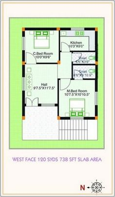 Vanity West Facing House Plan My Little Indian Villa 16 In west facing house plan plans for site. x and elevation. 2bhk House Plan, Duplex House Plans, Small House Plans, The Plan, How To Plan, Garage Floor Plans, House Floor Plans, Bungalow Haus Design, House Design