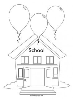 School coloring page Competitions For Kids, Fun Crafts, Arts And Crafts, School Coloring Pages, Reading Passages, Child Day, Coloring Books, Activities For Kids, 3 D