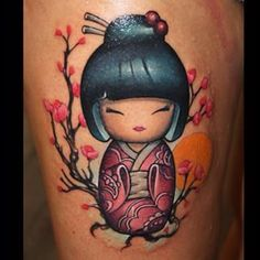 ba5fa2c17b kokeshi tattoo - I think I'm gonna have to have oriental blossom added to