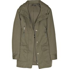 Joseph Parka cotton-blend jacket ($275) ❤ liked on Polyvore featuring outerwear, jackets, coats, coats & jackets, brown parka, cotton blend parka and hooded parka