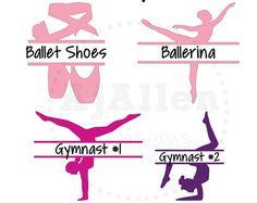 Vinyl Dance Monogram Decal Ballet Gymnastics Ballerina Gymnast Dancer Ballet Shoes Sticker by AjAllenDesigns on Etsy Applique Monogram, Monogram Decal, Silhouette Clip Art, Silhouette Cameo Projects, Vinyl Crafts, Vinyl Projects, Vinyl Decals, Sports Decals, Yeti Decals