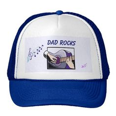 """""""Dad Rocks""""  Customizable Guitar Player Trucker Hat by MoonDreams Music - You can Replace with your own picture! #dadrocks #truckerhat #moondreamsmusic #mens #FathersDay #cap #musician #guitar #music"""