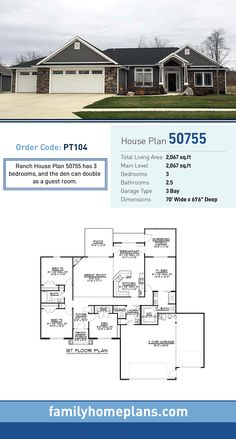 Ranch House Plan 50755 | Total Living Area: 2,067 SQ FT, 3 bedrooms and 2.5 bathrooms. Ranch House Plan 50755 has 3 bedrooms, and the den can double as a guest room. #ranchhome