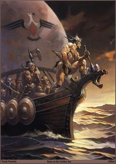kane on the golden sea ( Fantasy Artist Frank Frazetta, I have this print. Frank Frazetta, Fantasy Anime, Fantasy Kunst, Vikings, Science Fiction, Robert E Howard, Boris Vallejo, Conan The Barbarian, Sword And Sorcery