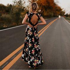 YANQIN Elegant flower print lace maxi dress vestidos Sexy deep V neck  backless summer dress Women long dress 80b72277ea585