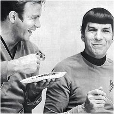 William Shatner and Leonard Nimoy on the set of Star Trek. Both men were born this week in 1931 – Shatner on March 22nd and Nimoy on March 26th.