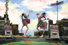 """""""The Latest"""" by Frank Morrison, a beautiful art print featuring two Alpha Kappa Alpha sorors."""