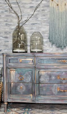 Boho/Morrocan inspired paint finish.Using Paint Couture, Glaze Couture, and Couture Copper Metallic Paint.Painted Dresser.