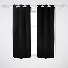 Amazon.com: Deconovo Room Darkening Thermal Insulated Grommet Blackout Window Curtains For Living Room Curtain Panels Pair Black 42x63-Inch: Home & Kitchen