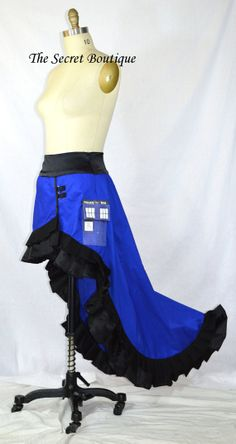 Tardis hi low skirt police box skirt by thesecretboutique on Etsy, $189.99