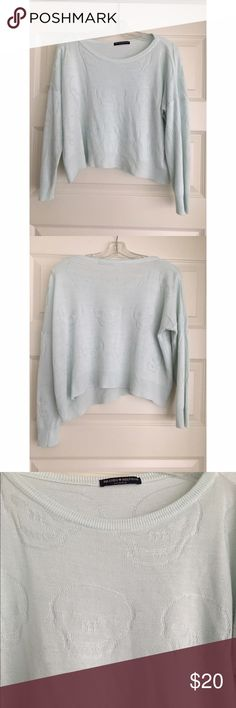 Brandy Melville Sweater Oversized skull print sweater from Brandy Melville in mint green. Brandy Melville Sweaters