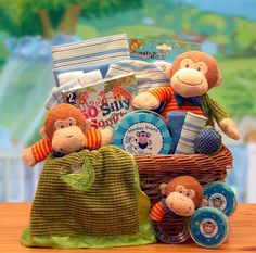 Newborn Baby Little Monkey Gift Basket -- monkeys all over playing with the basket.