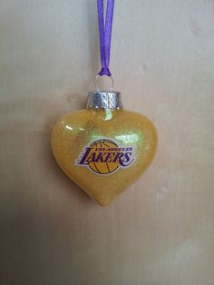 Los Angeles Lakers w/ Color handmade glass Christmas ornament