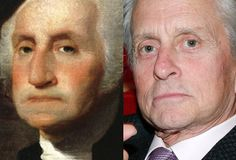 President George Washington - Michael Douglas (Image of Michael Douglas provided by Getty Images)  Michael looks more like George than Liberace....