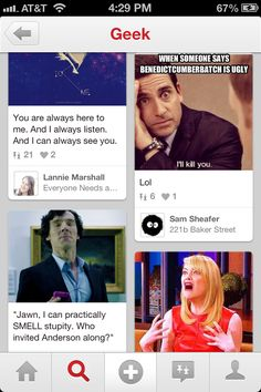 Pinterest reacting to the knowledge that people call Benedict Cumberbatch ugly.
