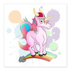 "Rainbow Viking Unicorn - by Denis Caron - 8x8 Print ""Draw a Unicorn Wearing a Viking Hat,"" hhmmm... OK! Watch me draw it"