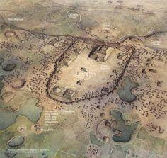 Illustration of Cahokia Mounds in western Illinois, USA