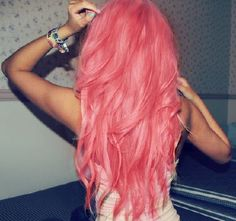 Love this pink hair - Hair Pastell Pink Hair, Bright Pink Hair, Purple Hair, Colorful Hair, Coral Pink, Pastel Purple, Coral Hair, Peach Hair, Turquoise Hair