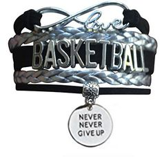 Basketball Never Give Up Infinity Bracelet - Sportybella Basketball Jewelry, Basketball Coach, Basketball Players, Basketball Workouts, Antique Silver, Antique Jewelry, Infinity Jewelry, She Believed She Could, Chanel Boy Bag