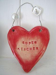 """Ceramic """"Super Teacher"""" Heart."""