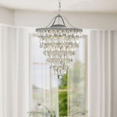 Cone Shape 4-light Matte Silver Crystal Chandelier | Overstock™ Shopping - Great Deals on Chandeliers & Pendants