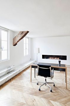 fireplace - chevron floors - marble | frederic berthier