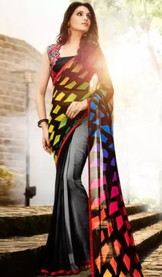 New Heavy Georgette Printed Saree with Embroidered Saree Embroidered blouse new printed saree • Product viewed by 2037 people • Product added on June 26, 2016