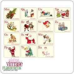 pretty+little+things+christmas+vintage+flash+cards | Vintage ABC's of Christmas Flashcards - Digital