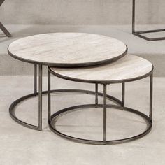Hammary Modern Basics Round Cocktail Table - Natural Travertine / Textured…
