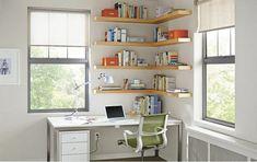 51 Corner Office Shelf By Gwendolyn Siciliano – Home Office Design Corner Office Wall Shelves, Corner Wall Shelves, Wall Shelving, Shelving Ideas, Shelf Ideas, Corner Bookshelves, Bedroom Shelving, Easy Shelves, Bookshelf Diy