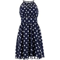 Swing Cocktail dress Party dress dunkelblau/cremeweiß ❤ liked on Polyvore featuring dresses, blue cocktail dress and blue dress