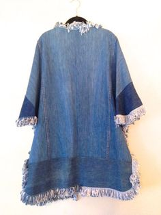 vintage denim jacket 1990s plus size denim fringe poncho