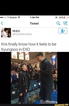 Kris D.O funny EXO and just imagine if Kyungsoo were there he would feel even smaller than what he feels now
