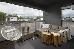 Bedroom balcony. Honka Harmonia. Outdoor Sectional, Sectional Sofa, Bedroom Balcony, Outdoor Furniture Sets, Outdoor Decor, Finland, Building A House, House Ideas, Home Decor