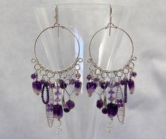 Amethyst Chandelier Earrings, Sterling Silver Wire Wrap, Handmade Gemstone Jewelry, Bead Gem Charms, Boho Unique Statement, Purple, February by AdornmentsAndFrills on Etsy