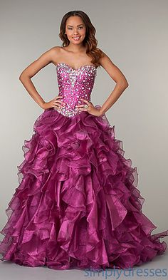 Strapless Sweetheart Ruffled Ball Gown in Magenta. <3
