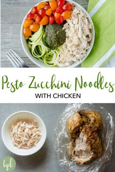 Need a simple weekday lunch or dinner option that is easy and healthy? This Pesto Chicken Zoodle Bowl recipe, made with zucchini noodles, is gluten free and Whole30 when made with compliant pesto. #healthy #glutenfree