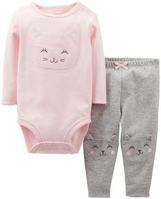 Carter's Baby Girls' 2 Piece Cute & Comfy Set (Baby) - Light Pink - Kitty - 6 Months