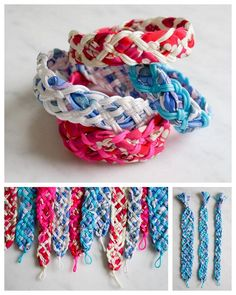 DIY Knotted Cord Fabric Friendship Bracelet Tutorial from The Purl Bee.These bracelets are made braiding 5, 7 or 9 stands of Chinese Knotting Cord. The fabric is bias tape which you can buy or make....